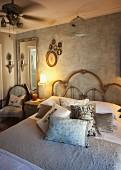 Brass bed and vintage decor in elegant bedroom