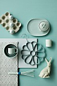 Kitchen utensils and home accessories in shades of pastel green