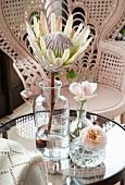 Protea in Vintage Apothekerflasche und Rosen in kleinen Kristallvasen auf Glastisch