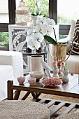White orchid in gilt trophy and various vases on coffee table
