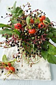 Wreath of rose hips and elderberries