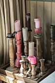 Collection of rustic wooden candlesticks