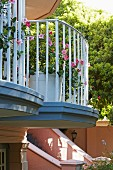 Potted flowering plants on small balconies