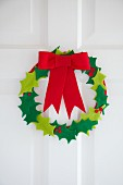 Hand-crafted felt holly wreath