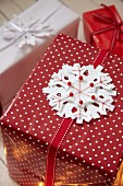 Felt snowflake decorating wrapped gift