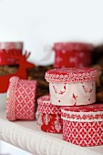 Advent calender made from tins covered in fabric and trim