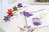 Hand-crafted, festive felt name tags and napkin decorations