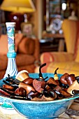 Collection of pipes in blue ceramic bowl