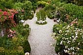 Blick auf Kiesweg zwischen prachtvollen Rosen und Gehölzbepflanzung in parkähnlichem Garten