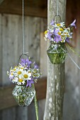 Romantic posies of wild campanula, ox-eye daisies and chamomile in suspended glass vases