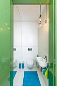 View through green, glossy door frame into narrow toilet with mirrored wall