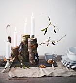 Alternativer Adventskranz aus Aststücken auf einem Tisch mit Dekovögeln