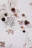 Decorative idea using pine cones and forest animal motifs