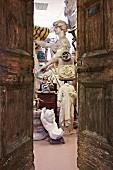 View of antique sculptures in sculptor's workshop