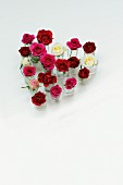 Heart-shaped, Valentine's-day arrangement of roses in small glasses