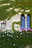 Climber-covered facade with Romanesque window next to wall-mounted lantern (Villa Cimbrone)