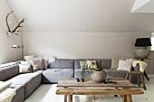 Modern, grey corner sofa and rustic coffee table below hunting trophy on wall