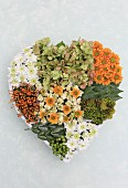 Hand-made, heart-shaped arrangement of chrysanthemums, hydrangeas and berries