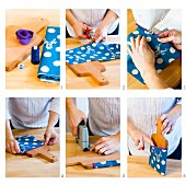 Craft instructions for making pin board with pocket from chopping board and fabric