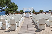 Beach location prepared for wedding