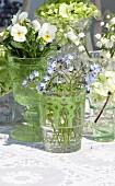 Arrangement von verschiedenen Frühlingsblumen in Glasgefässen