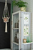 Macrame plant hanger next to rustic display case with botanical illustrations attached to side
