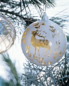 White Christmas bauble with gold stag motif