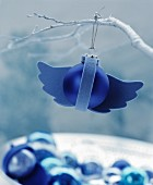 Blue Christmas tree bauble with felt wings