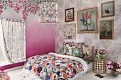 Floral design in bedroom