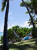 Hängematte zwischen Palmen, Mauritius