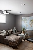 Map of the work and ethnic textiles in modern safari-style living room