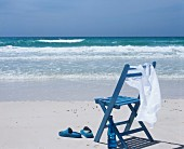 Blue chair on beach