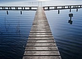 Wooden jetty in lake