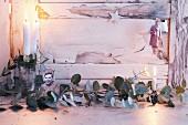 Schwarz-weiss kopierte Familienbilder mit Glitzerdeko als Weihnachtsanhänger