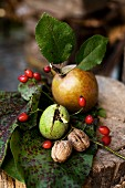 Still-life arrangement of autumn fruits and walnuts on old chopping block