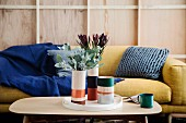 Plywood vases with colored stripes