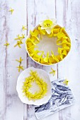 A wreath of forsythias and narcissi in bowls of water as table decorations