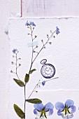 Getrocknete Blüten auf Büttenpapier