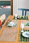 Various place mats made from coffee sacks