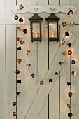 Decorative homemade fairy lights made from coffee capsules