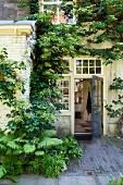Farn und Kletterpflanze an traditionellem Wohnhaus mit offener Tür