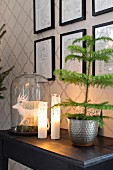 Small potted Christmas tree next to lit candles and deer ornament under glass cover