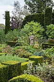 Juxtaposition of topiary and informal planting in garden