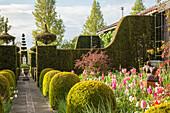 Geometrisch geschnittene Hecken zwischen einzelnen Gartenbereichen