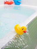 Water slopping out of bath carrying rubber ducky