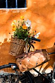 Basket of summer flowers on vintage bicycle leaning against orange façade with blue lattice window