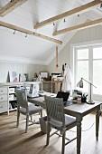 Desk in rustic attic study