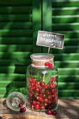 Cherries in sweet jar with chalkboard sign