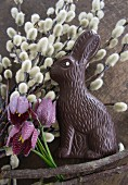 Willow catkins, chocolate Easter bunny and snake's head fritillaries
