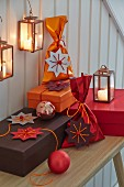 Paper stars wth string and beads as decorative gift tags